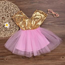 2019 disfraces de fantasía vestidos chicas Vestido del bebé de la manera de Mikrdoo Niñas flor Princesa Bowknot Wedding Party Vestidos de encaje Tutu desfile Fancy Baby Top Clothes rebajas disfraces de fantasía vestidos chicas