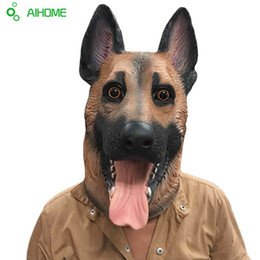 Wholesale Dancing Dog Toys - Wholesale-Animal Dog Head Full Face Latex Party Mask Halloween Dance Party Costume Wolfhound Masks Theater Toys Fancy Dress Festival Gift