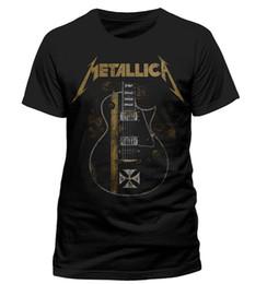 Wholesale Purple Black Guitar - Wholesale- Metallica Hetfield Iron Cross Guitar Black Men's T shirt Hip Hop Rock Metal Mens Casual Shirts Custom Man Fashion Clothing Tees