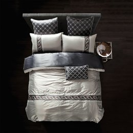 Wholesale Tencel Duvet - Wholesale-Luxury tencel cotton Embroidery Bedding Sets King Queen Size Comforter Duvet Cover Set BedSheet  Pillowcase bedclothes bedlinen