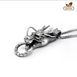 Wholesale Vintage Dragon Jewelry - Wholesale Vintage Winged Dragon Pendant Necklace For Girl Boy Stainless Steel No Fade Jewelry