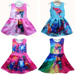 Wholesale Summer Baby Dress Wholesale - New 10 colors baby girls Trolls Pleated dress cartoon Trolls printing Princess sleeveless dresses Kids Clothing C1739
