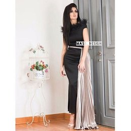 Wholesale Satin Feathers - 2017 Black Prom Dresses Feather Neckline Sheath Crew Neckline Cap Sleeves Split Skirt with Champagne Pleated Train LBD