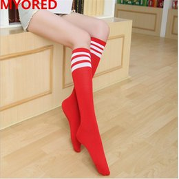 Wholesale Mens Stripe Soccer - 16 colored stripes football knee high summer stockings sexy soccer calf long socken mens womens unisex outdoor sports running 40pair DHL