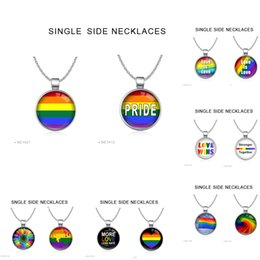 Wholesale Pride Charms - (10pcs lots ) Wholesale LGBT Rainbow Necklaces With Chain Pendants Stainless Steel Super Gay and Lesbian Pride Jewelry