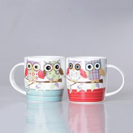 Wholesale Owl Mugs - Wholesale- Creative Owl 350ml Bone porcelain cup Ceramic Mug Coffee Milk Breakfast Cup Coffee Mug Gifts Cup