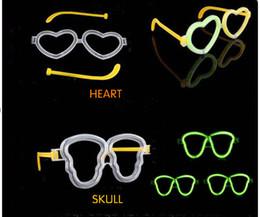 Wholesale Heart Shaped Glow Glasses - Wholesale- 50pcs lot Luminous stick accessories led glasses frame skull heart shape glow stick glasses light up toys party concert supplies