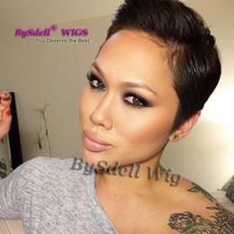 Wholesale Men Black Short Hair Wigs - Keira Inspired Pixie Cut Short Hairstyle wig Synthetic Short Black Backward Hair Wigs for Men  Women Very Sexy Pixie Cut Summer Time Wig