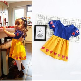 Wholesale Dress Neck Heart - KIDS Baby Girls snow white costume Dresses Blue Yellow Heart Children Lovely Princess Ruffles Girls Summer Party Wear Dress for Girls