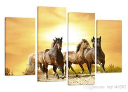 Wholesale horse housing - YIJIAHE DW92 Canvas Painting Art 4 Pieces horse Wall Art Pictures Print On Canvas Become Paintings To Decorate Your House Office ect.