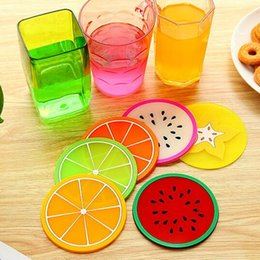 Wholesale Dinners Coaster - Wholesale- HOT 5pc Insulation Mat Lovely fruit Rectangular Silicone Heat Insulation Dinner Table Mat Cup Mug Dish Coaster