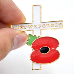 Wholesale Flower Poppies - Gold Plated Alloy Enamel Poppy Brooch Red Poppy Flower Pin Cross And Poppy Flower Lest We Forget Letters Broach Pin For UK Memorial Days