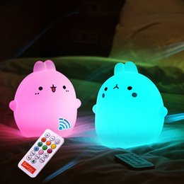 Wholesale Usb Timer Lamp - Rabbit Silicone RGB Led Night Lamps With Remote Controller USB Rechargeable Touch Sensor Table bedside light With Timer