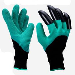 Водонепроницаемые садовые перчатки онлайн-Садовые перчатки с кончиками пальцев пластиковые когти зеленый копать завод изоляции обрезка перчатки сад водонепроницаемый рыть изоляции инструмент