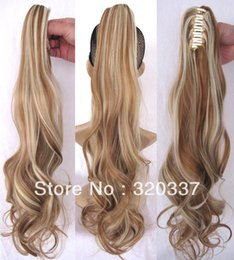Hair extensions brown blonde highlights bulk prices affordable wholesale new arrival 22 womens claw on ponytail hair highlight ponytail extensions wavy ponytail hairpieces 27 613 brown blonde hair price pmusecretfo Images