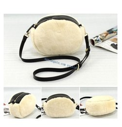 Wholesale Sheep Small - Fall winter real sheep fur hair+genuine leather women shoulder bag christmas Luxury brand warm feminina ladies bag for evening party ball