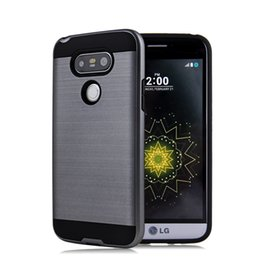 Wholesale Thin White Phone Brands - For Samsung LG G5 V20 Armor Metallic Wire Drawing Cover Hybrid Ultra-Thin Phone Cases with Heavy Duty Proection Function