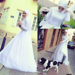 2019 vestido de corpiño de cristal Traje de matrimonio 2017 blusa de encaje musulmán vestidos de novia de cuello alto de tul mangas largas vestidos de novia árabes con cristal vestido de corpiño de cristal baratos