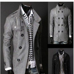 Wholesale Men England Coat - Free Shipping Black Grey Men's Wool Coat Double Breasted Shoulder Epaulets Long Trench Coats Dropshi Free Shipping