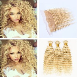 Wholesale Dyed Virgin Deep Weave - #613 Blonde Brazilian Deep Curly Wave Virgin Human Hair 3 Bundles With 13x4 Ear to Ear Full Lace Frontal Closure 4Pcs Lot