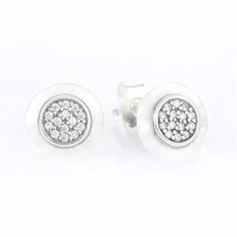 Wholesale Sterling Silver Best Charms - Stud earrings round S925 sterling silver fits pandora style jewellery charms free shipping best quality aleer114