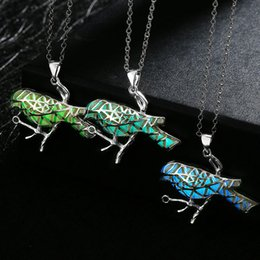 Wholesale Glow Birds - Wholesale-17KM 2016 Hollow Out Animal Owl Pendant Glow In Dark Necklace For Women Glowing Bird Fish Beatles Maxi New Statement Neclace