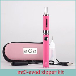 Wholesale Evod Starter Kit Zipper - MT3 EVOD Zipper Case Starter kit E cigarette 2.4ML Vaporizer 650 900 1100 mah EVOD Battery 510 Thread Electronic Cigarette