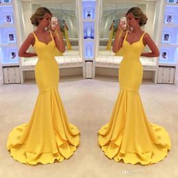 abiti di promenade gialli semplici Sconti Vestidos de fiesta Prom Dresses arabo giallo elegante sexy Backless semplice Sweetheart Backless senza maniche sera del partito di abiti