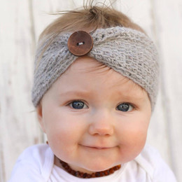Wholesale Headband Buttons - Hot Sale winter wool knitted headband baby girls kids newborn hair head band wrap turban headwear with button hair accessories wholesale