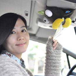 großhandel visier clips für autos Rabatt Großhandels-Auto Sonnenblende schöne Tissue Box Auto Zubehör Halter Papierserviette Clip-Cartoon Aufbewahrungsbox