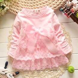 Wholesale Wholesale Dres - Wholesale- 2016 autumn new born baby dress soft and cute lace princess infant dress baby girls dres Baby clothes