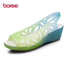 Wholesale Open Toe Jelly Wedges - Boree Summer Women's Sandals,Fashion Casual Shoes Peep Toe,Wedges Breathable Hollow,Non-Slip Mujer Sandalia Jelly Shoes SDL0514