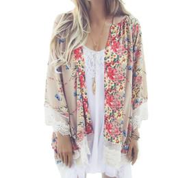Wholesale Cardigan Kimono Wholesale - Wholesale- 2017 Spring Summer Women Floral Printed Kimono Ladies Casual Open Stitch Loose Outerwear Plus Size Cardigan Coat Tassel Cape