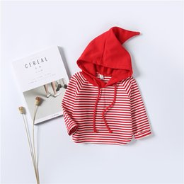 Wholesale Kids Striped Sweaters - INS 2 colors New style autumn style Baby kids Striped sweater long sleeve high quality cotton cute witch hat coat 100% kids clothing