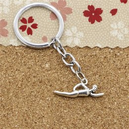 Wholesale Boys Swimmers - 15pcs Fashion Diameter 30mm Metal Key Ring Key Chain Jewelry Antique Silver Plated swimming swimmer sporter 29*11mm Pendant