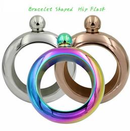 Wholesale Hip Flask Silver - JUJOR 3 Pattern Bangle Bracelet Shaped Stainless Steel Hip Flask 3.5-Ounce Silver Rainbow Copper Bracelet Hip Flask KKA1818
