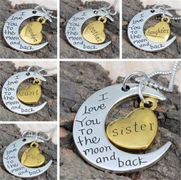 Wholesale Stainless Steel Jewelry Engraved - Fashion I Love You To The Moon And Back Mother Mom Gift Engraved Letter Pendant Statement Choker Moon Necklace Jewelry