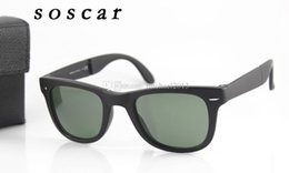 Wholesale Case For Folding Glasses - 4105 Folding Sunglasses Brand Bans Designer Sunglasses for Man Woman UV400 Flash Mirror Lenses 50mm 54mm with Folding Case Box