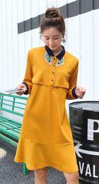 Wholesale Feed Lines - Women's Lapel Long Sleeve Casual Breast-feed Loose Maternity wear Women's Pregnant Dress Size M L XL DXW145