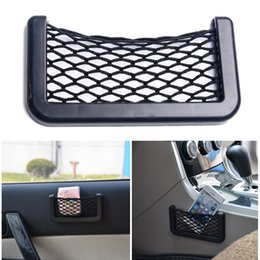 Wholesale Automotive Organizers - Wholesale- Car Net Bag Car Organizer Nets 15X8cm Automotive Pockets With Adhesive Visor Car Styling Bag Storage for tools Mobile phone