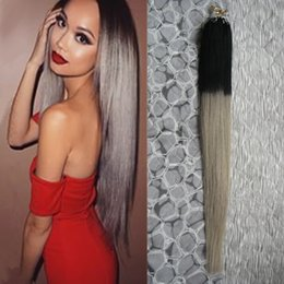 Wholesale Ash Blonde Human Hair Extensions - Wholesale- 100g ash Blonde Hair Extensions 1B Gray Silver ombre Micro Hair Extensions 100S Apply Natural Micro Link Hair Extensions Human