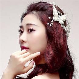 573465620ba diamond hair claw clips Promo Codes - Wedding Bridal Bridesmaid Handmade  Butterfly Hair Claws Headdress Pearl