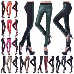 Wholesale Leather Pants Wholesale - Legging High Waist PU Leather Patchwork Jeggings Women Stretch Tights Skinny Plus Size Pencil Pants Elastic Slim Leggings Foot Pants OOA3204