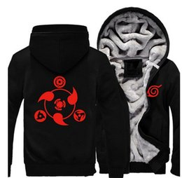 naruto uzumaki jacket Promo Codes - Wholesale- New Naruto Hoodie New Anime Uchiha Sasuke Cosplay Coat Uzumaki Naruto Jacket Winter Men Thick Zipper Luminous Sweatshirts
