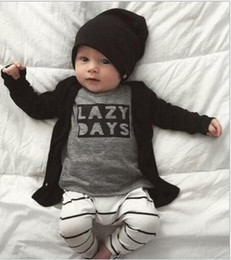 Wholesale Baby Boy 18 24 Months - Ins Baby Boys Summer T-Shirt Sets Children Grey Letter Lazy Days Clothing Cotton Stripe Pants Shirts 2pcs Kids Suits Baby Outfits Clothing