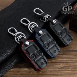 Couro genuíno honda on-line-10 pçs / lote Genuine Leather Car Chave Caso capa para HONDA CRV Odyssey 2 Botões de Flip Do Carro keychain chave saco carteira keyfob Acessórios Do carro