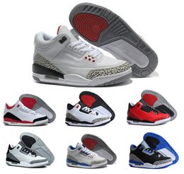 Wholesale Black Pink Silver Fabric - 2016 Cheap Retro 3 basketball Shoes For Men Training shoe Wholesale Womens athletics Basketball Shoe Black White Cement Wolf Grey Sport