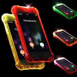 Wholesale Iphone Cases Led Lights - Call Lightning Flash LED Light Up Case Soft TPU LED illuminated Shockproof Cover For iPhone X 8 7 Plus 6 6S 5S 5 Samsung S8 S7 Edge