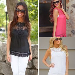 Wholesale Hot Women Sleeveless Shirts - Wholesale-Hot Sale Sexy Women lace Shirt Summer Casual Sleeveless Tops Fashion Hollow Out Shirts chemisier femme Casual Shirts