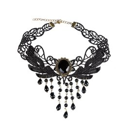 Wholesale Face Rhinestone Designs - Big Black Gem Charm Lace Chain Choker Necklace Pretty Flower Design And Beads Tassel Statement Necklace For Women Wedding Party